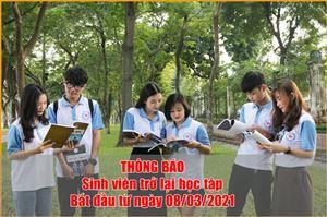 Thông báo kế hoạch sinh viên trở lại học tập.