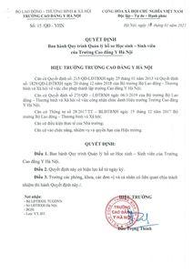 Ban hành quy trình quản lý hồ sơ Học sinh - Sinh viên Trường Cao Đẳng Y Hà Nội