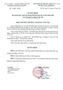 Ban hành Quy trình Xây dựng kế hoạch đào tạo và thơi fkhoas biểu Trường Cao Đẳng Y Hà Nội